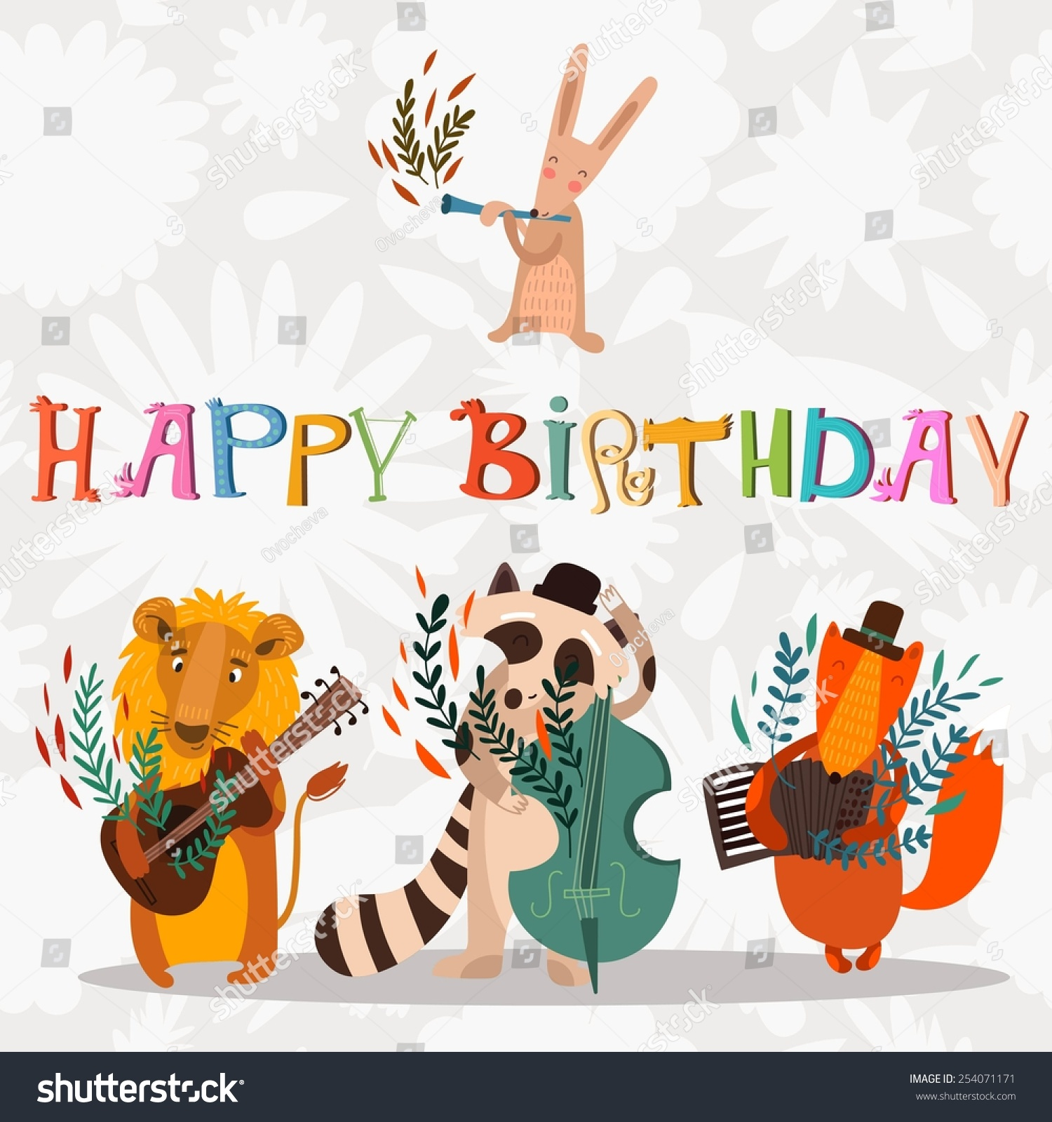 Stylish Happy Birthday Background Animals