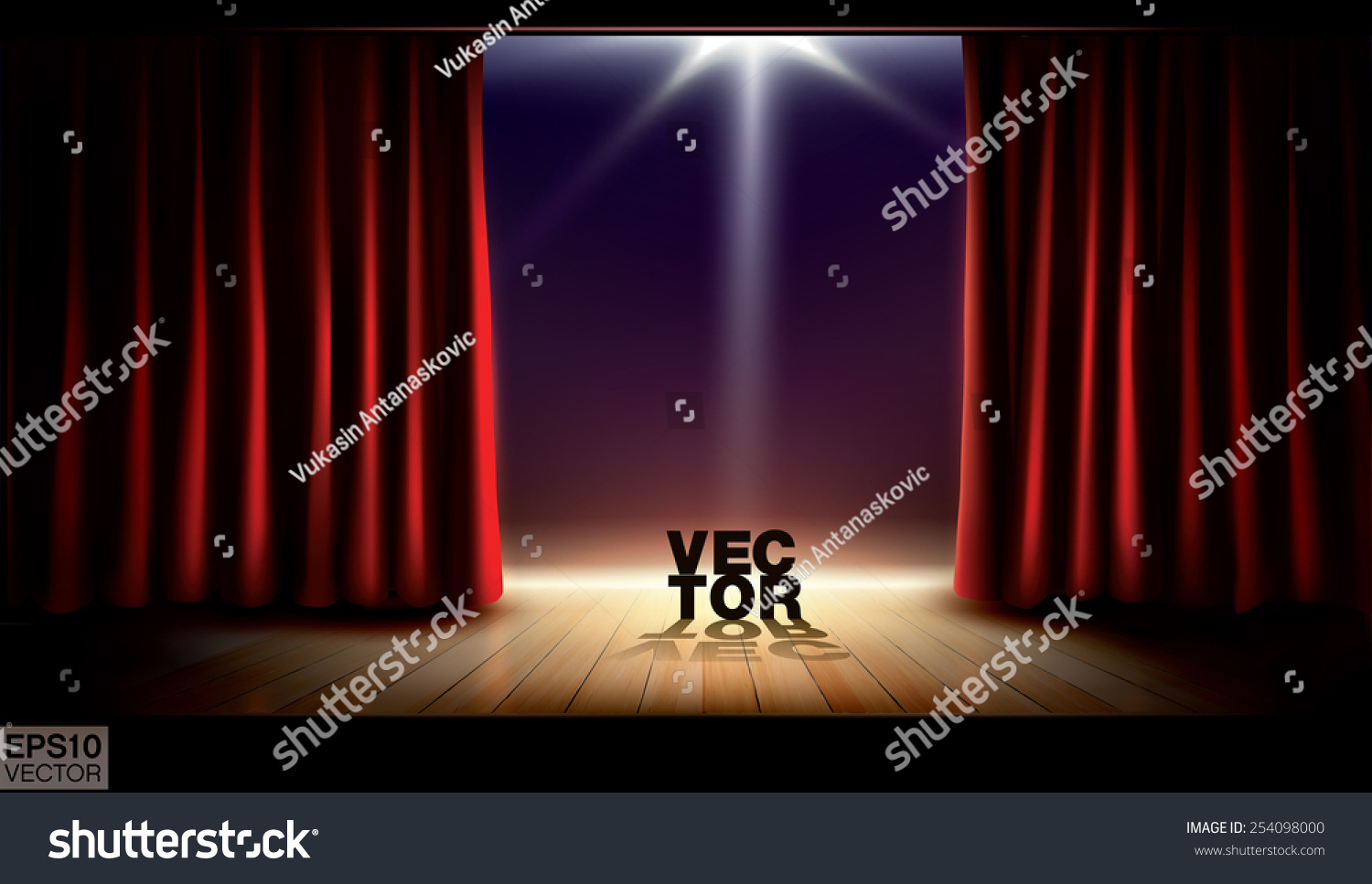 Stage curtains spotlight - Stage With Red Curtains And Spotlight Vector Background