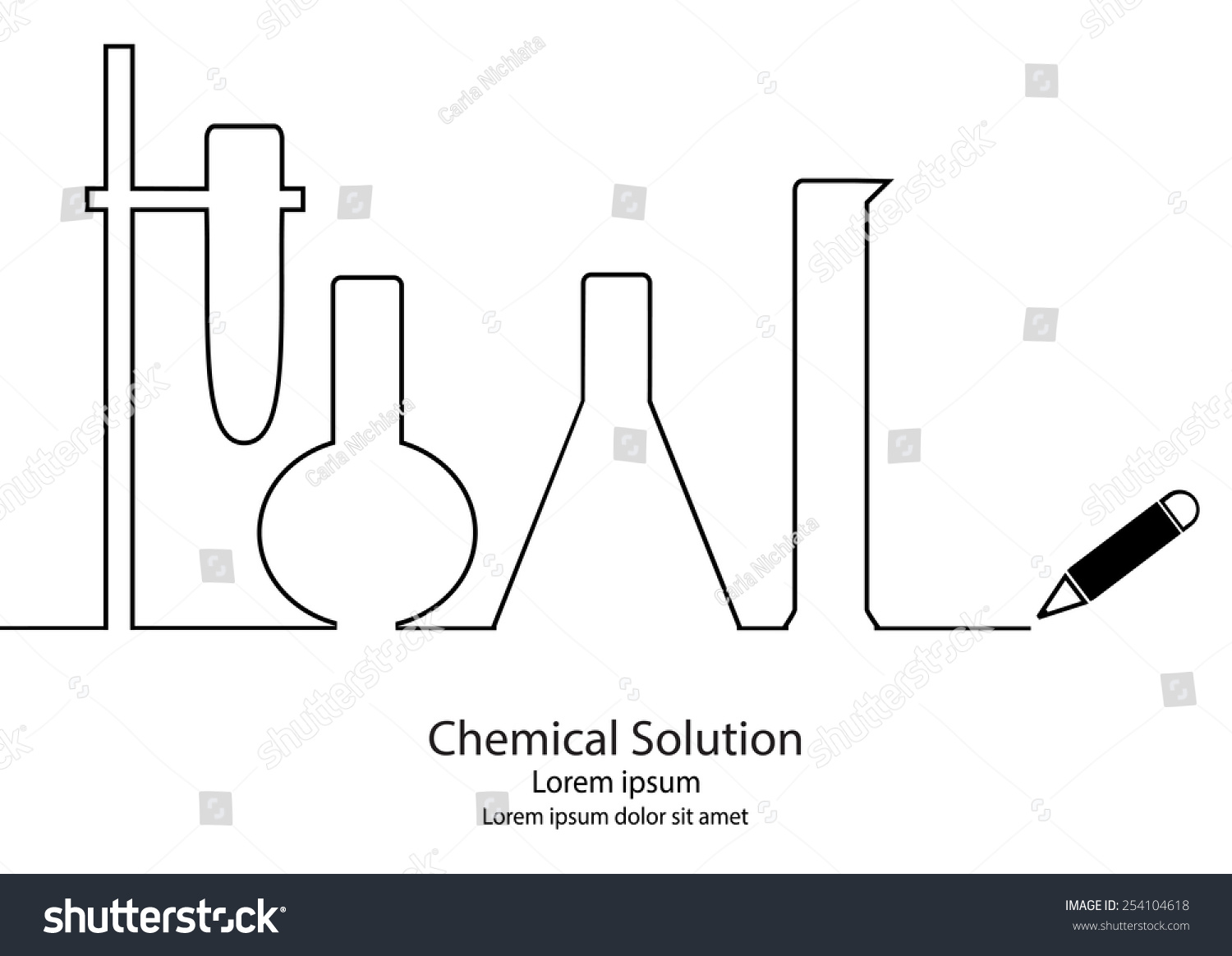 Line Drawing Rules Chemistry : Chemical lab material line drawing vector