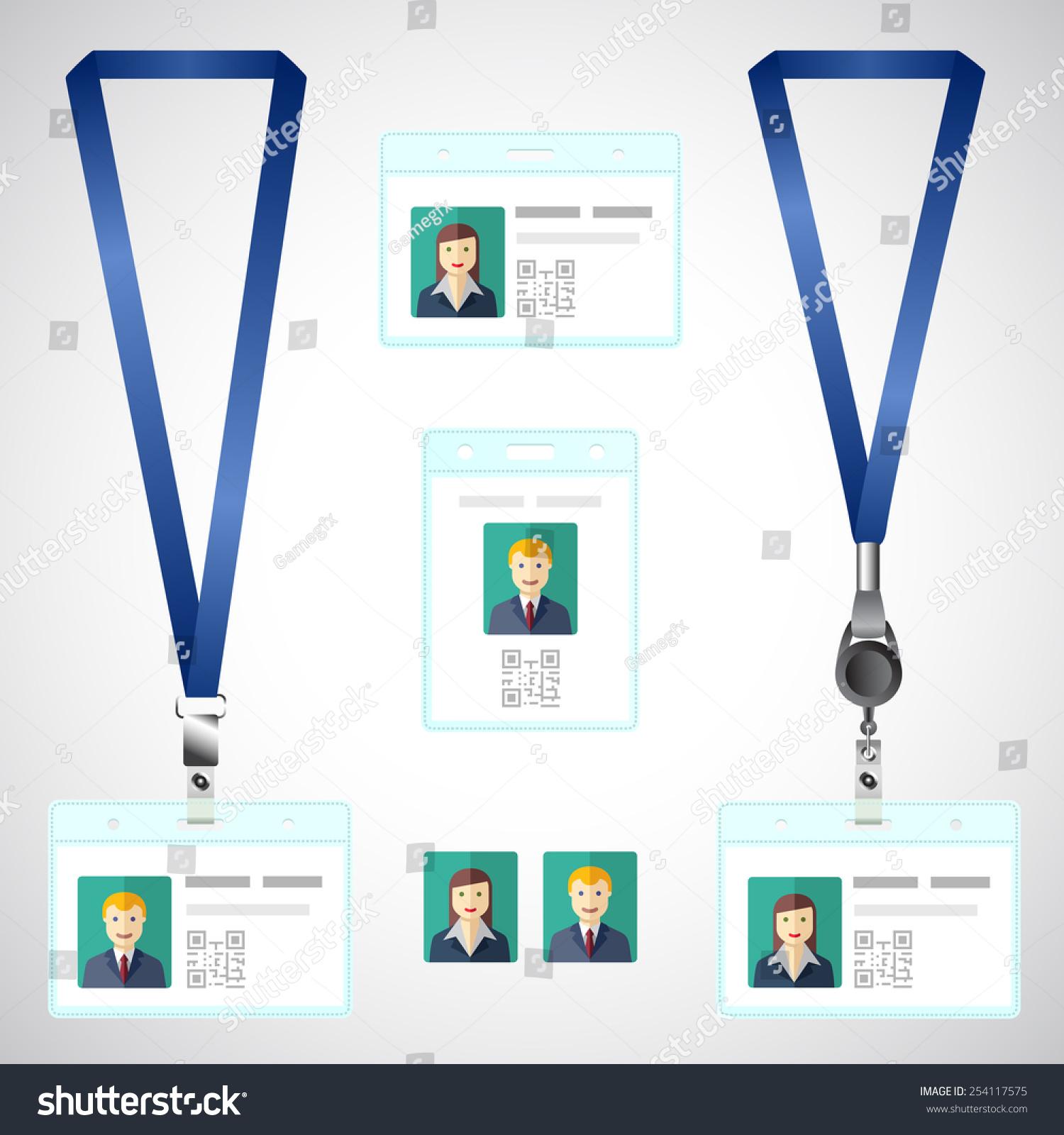 lanyard name tag holder end badge stock vector royalty free