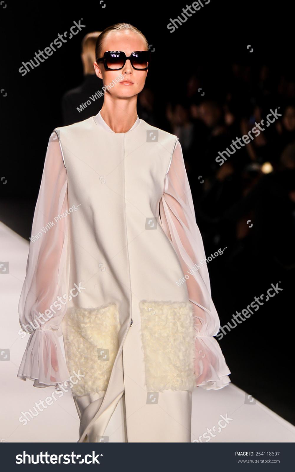 NEW YORK - FEB. 18, 2015: A model walks… Stock Photo ...