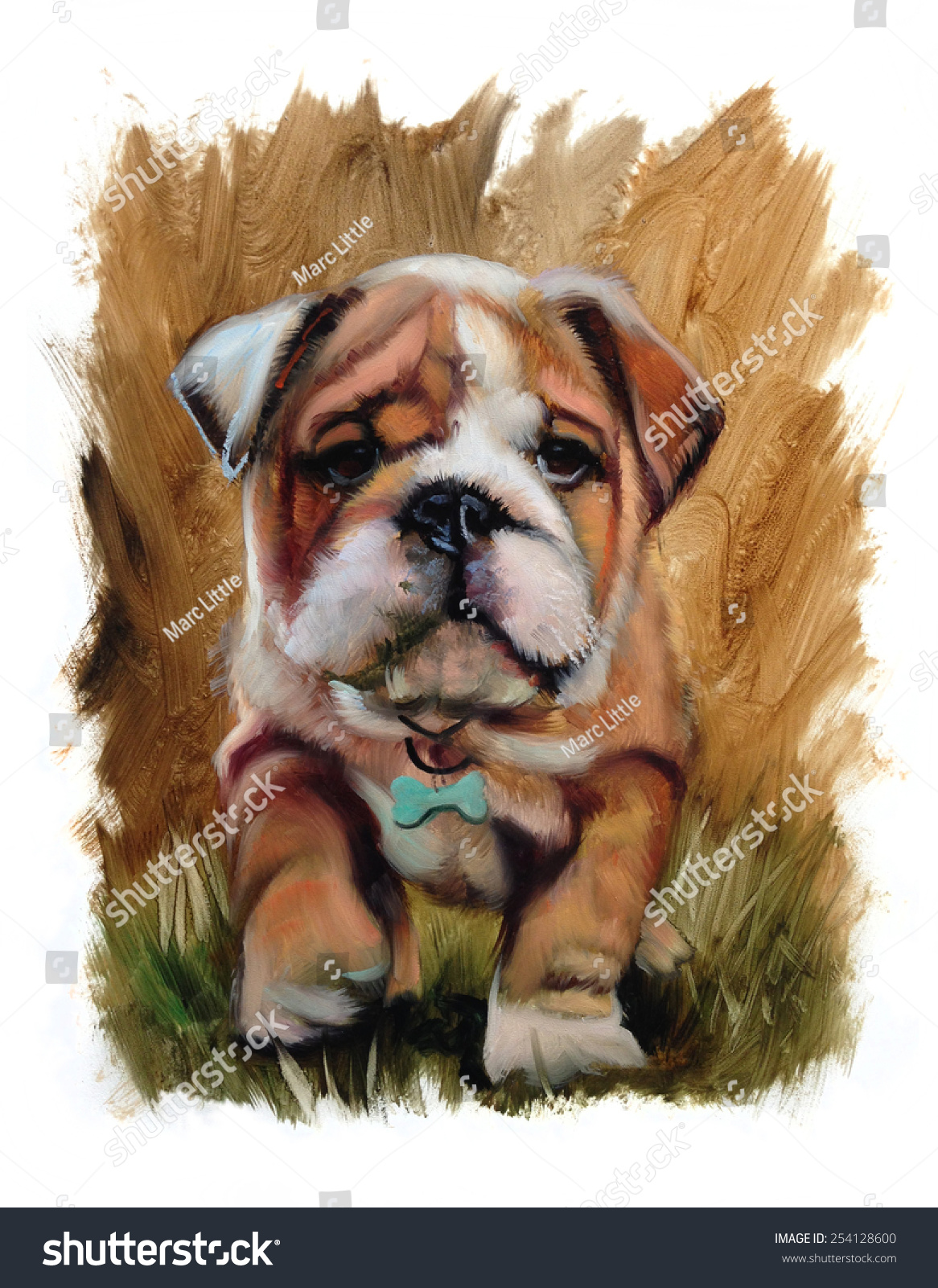 Bulldog Puppy Cute Oil Painting Torn Stock Illustration 254128600