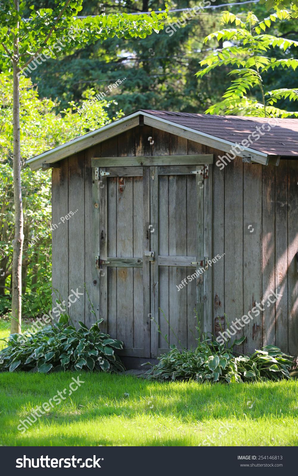 backyard garden shack old barnwood shed stock photo 254146813