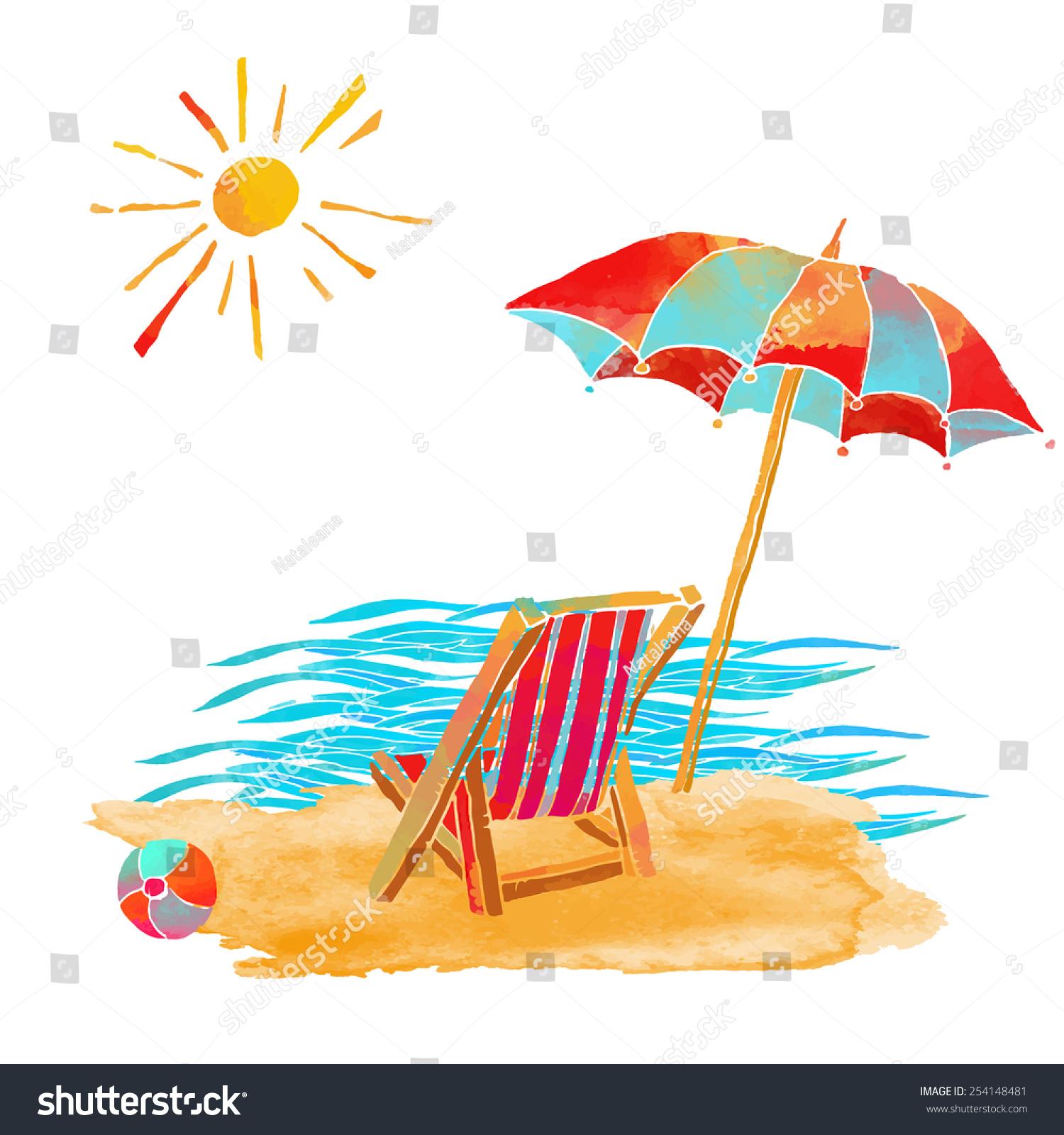 Watercolor Summer Beach Set Waves Sea Stock Vector ...
