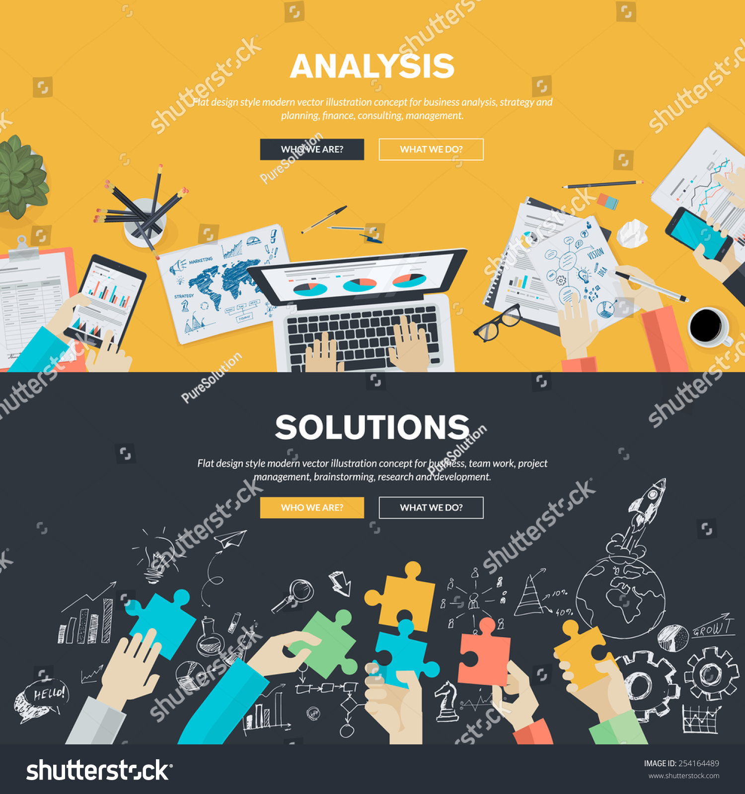 Flat design illustration concepts business analysis stock for Design and development consultants