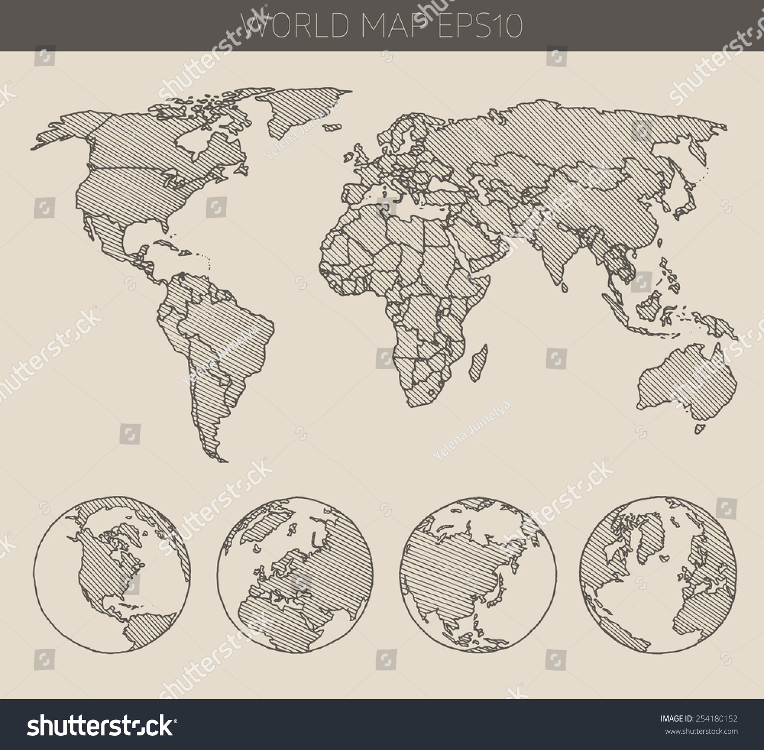 World map hemispheres contour vector illustration vectores en stock world map with hemispheres contour vector illustration hand drawn sketch gumiabroncs Image collections