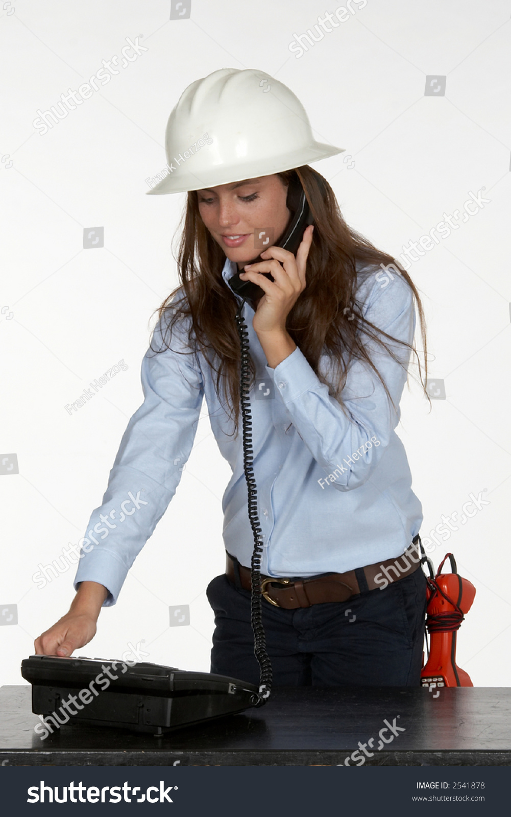 Young Female Telephone Technician Test Phone Stock Photo 2541878 ...