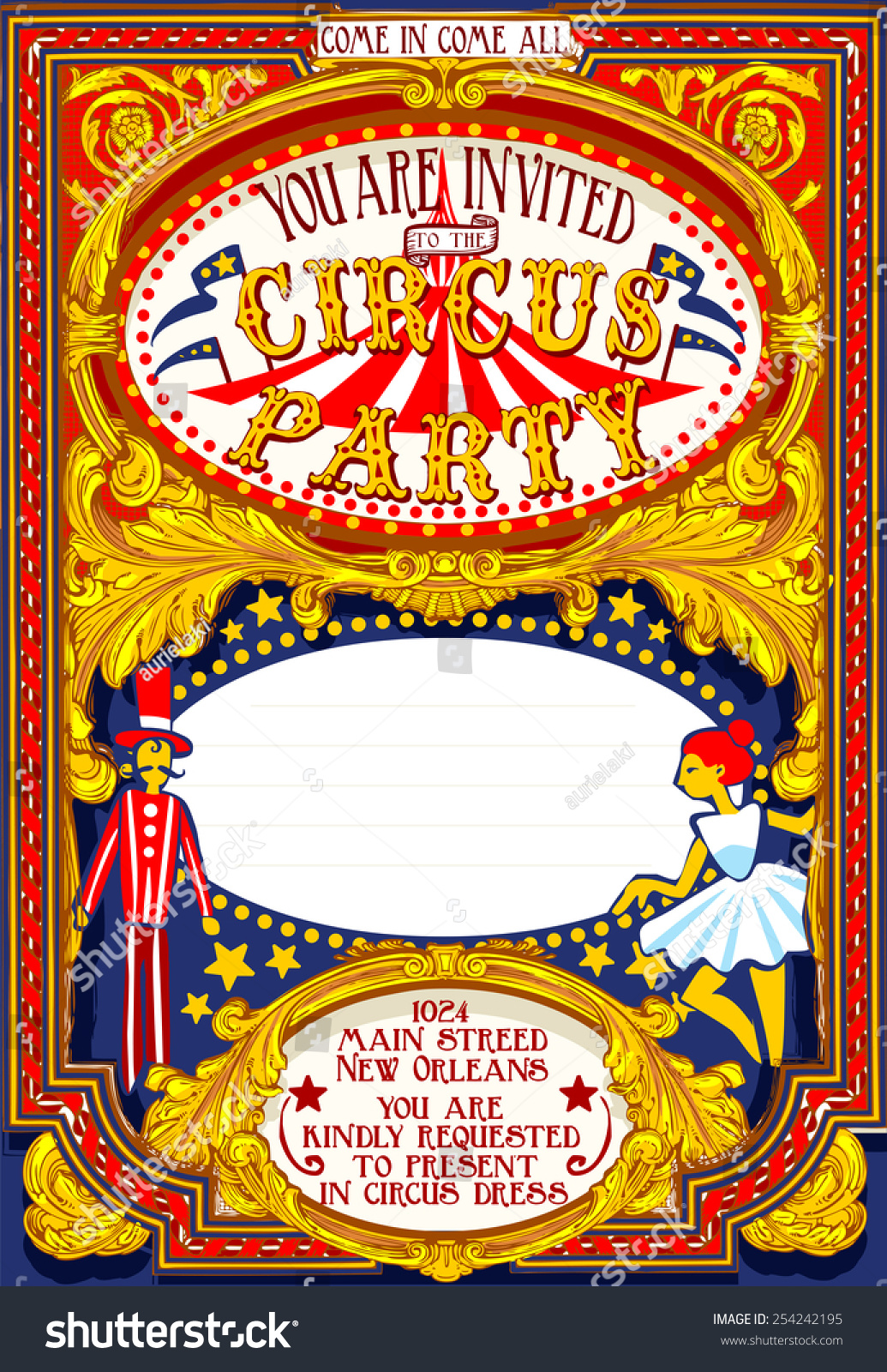 Circus Magician Show Retro Template Cartoon Ilustración de ...