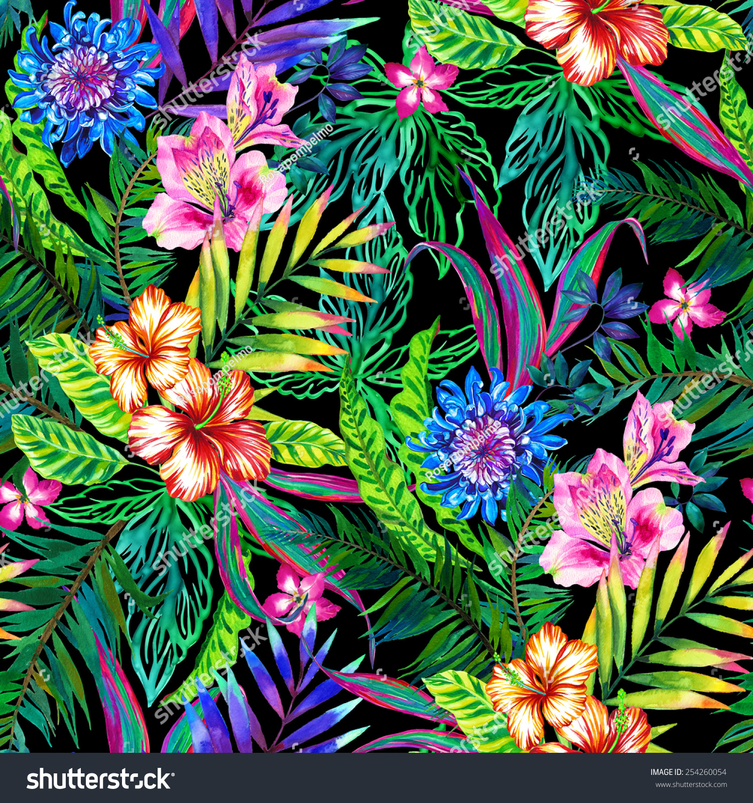amazing seamless tropical pattern lots exotic stock illustration