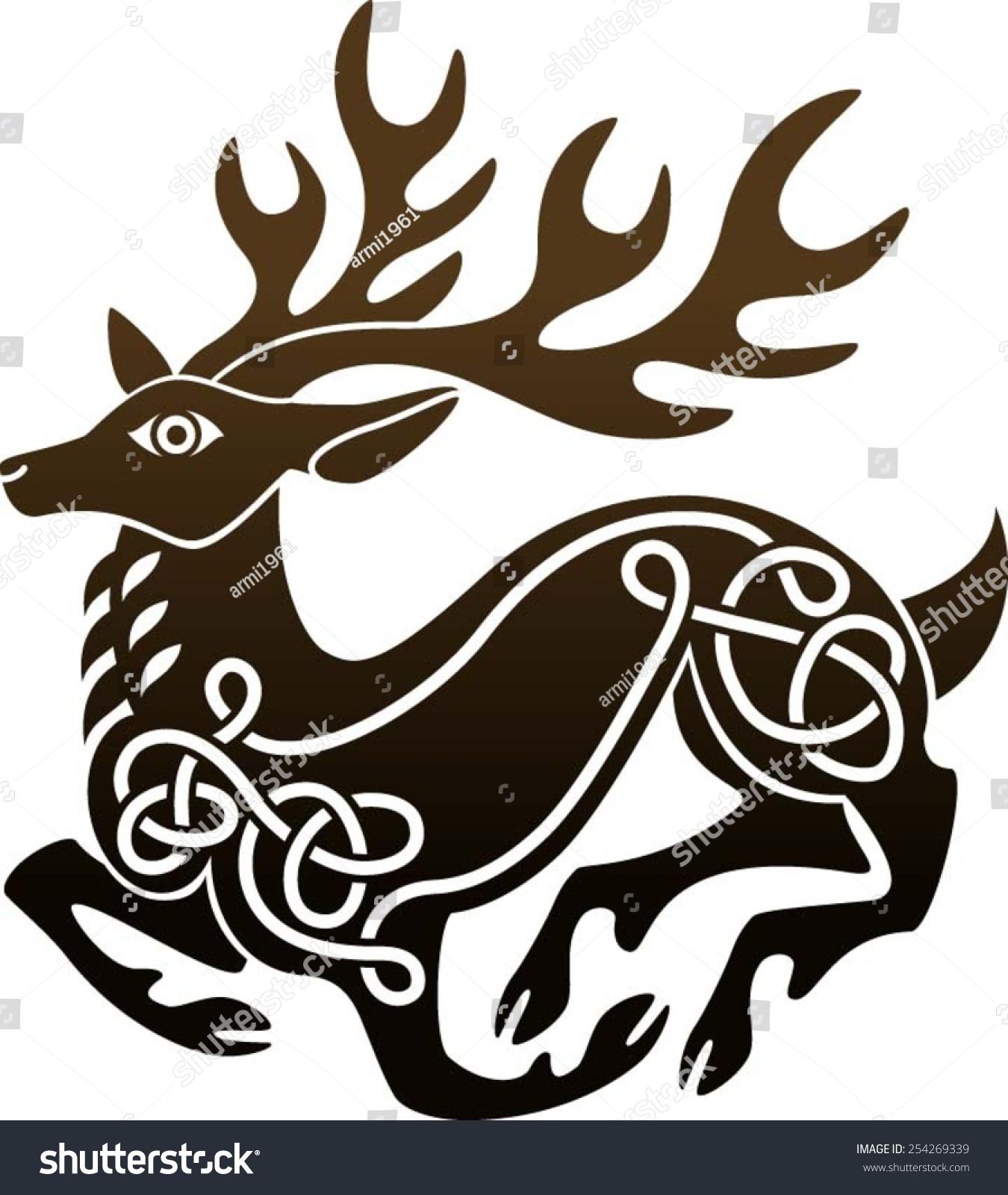 Celtic Deer Stag Stock Vector 254269339 Shutterstock