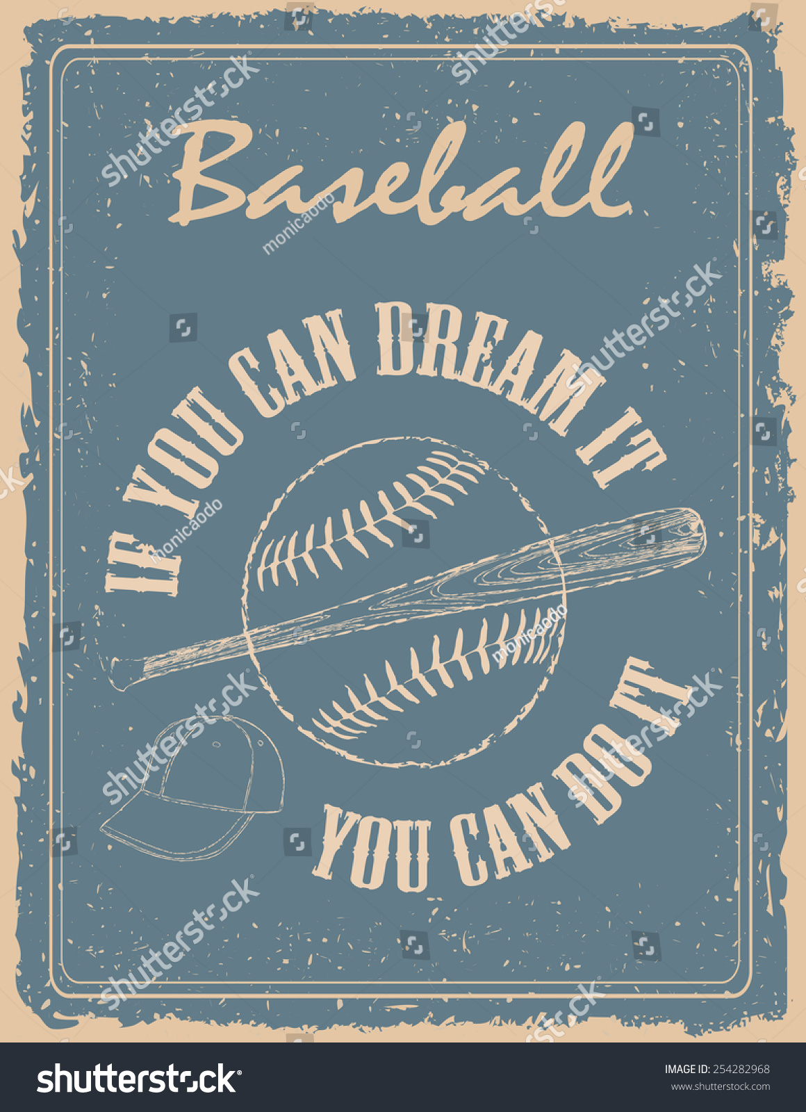 Baseball Quote Vintage Baseball Poster On Old Paper Stock Vector 254282968