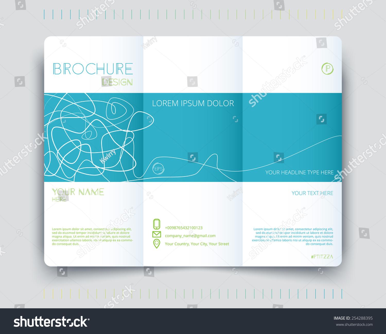 Vector Brochure Minimalistic Design Three Pages Stock Vector