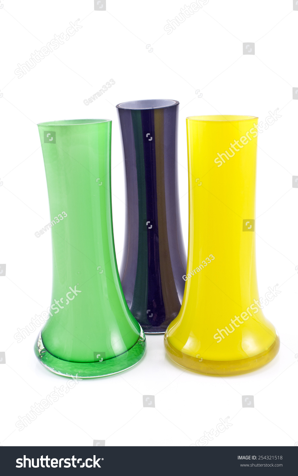 Three colorful glass vases isolated on stock photo 254321518 three colorful glass vases isolated on white reviewsmspy
