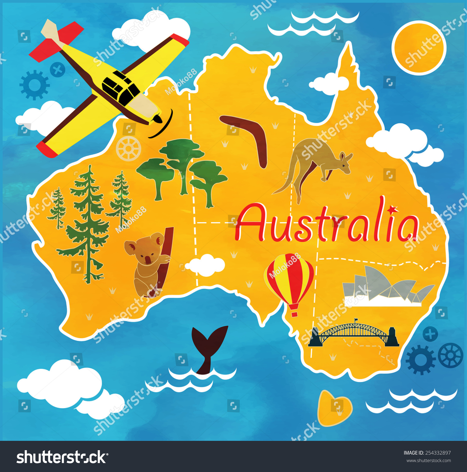 Cartoon Map Australia Stock Vector 254332897 Shutterstock
