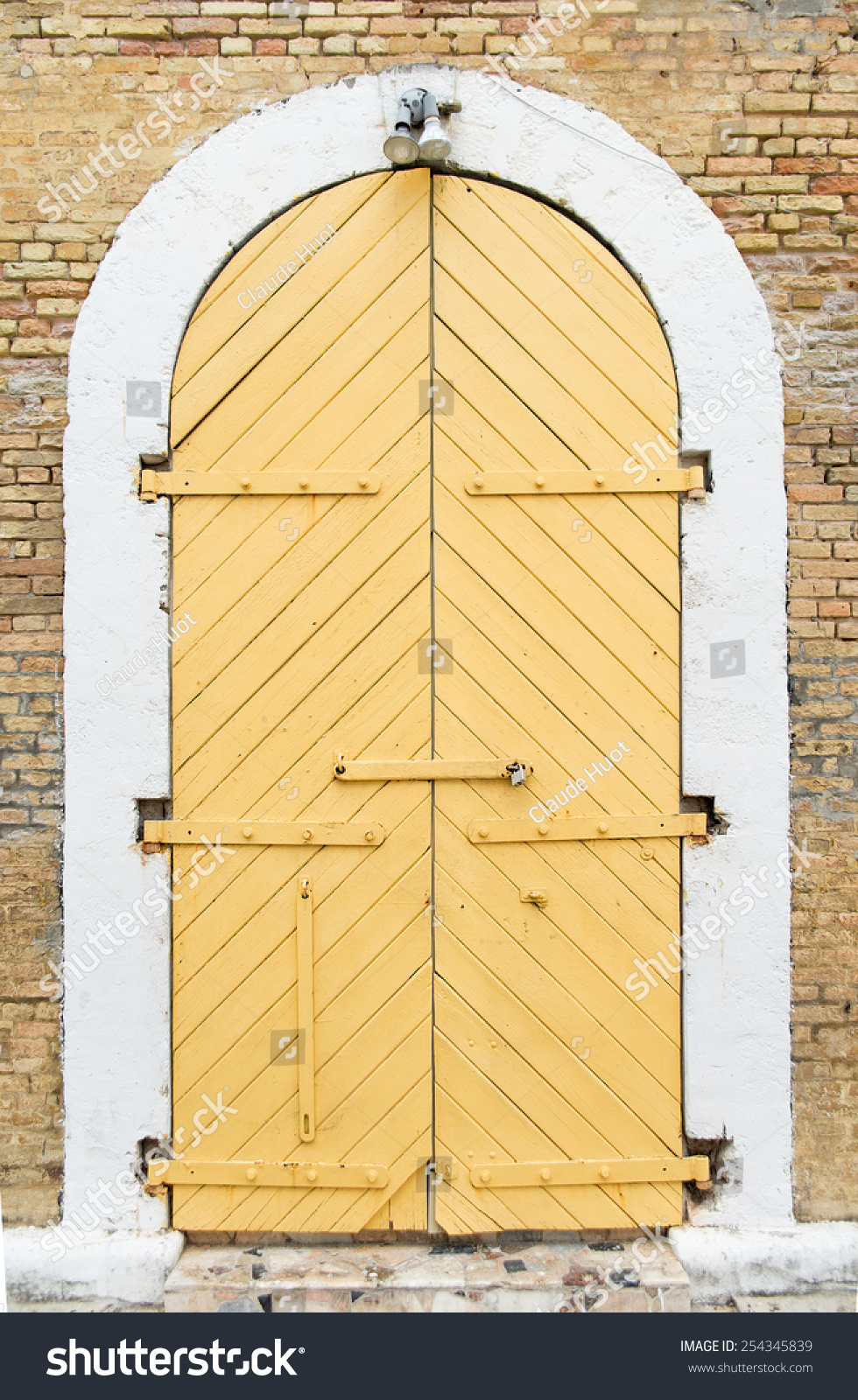 Old closed door in front of a building on the island of Saint Thomas part of the US Virgin Islands in the Caribbean