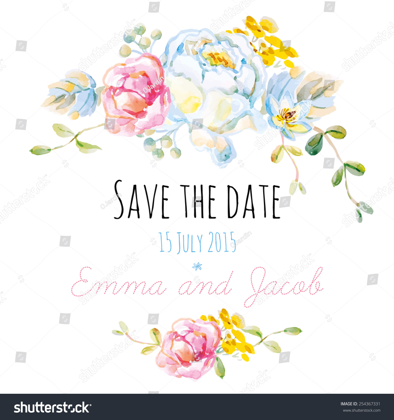 Save On Wedding Flowers: Save Date Wedding Invitation White Rose Stock Vector