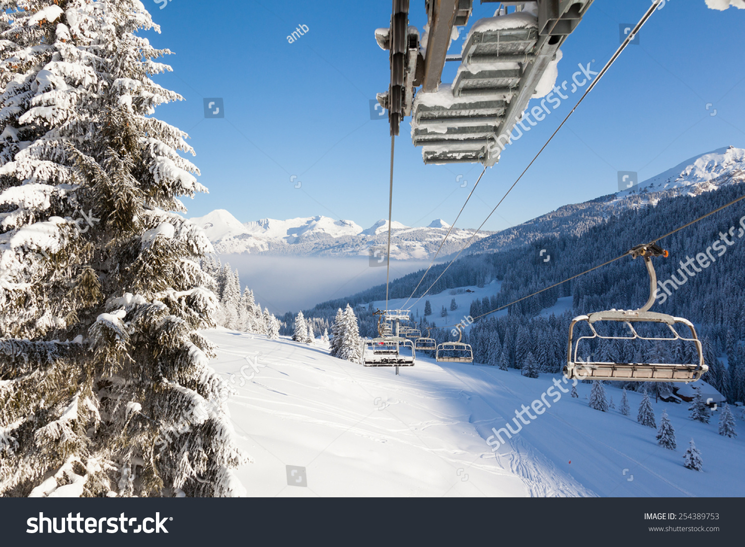view down valley chair lift les stock photo 254389753 shutterstock. Black Bedroom Furniture Sets. Home Design Ideas
