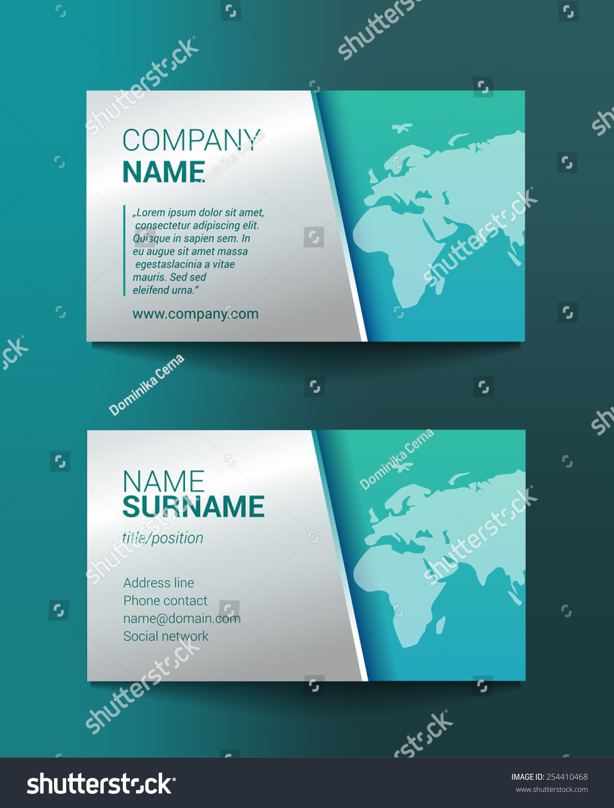 Business Card Template World Map Stock Vector 254410468 - Shutterstock