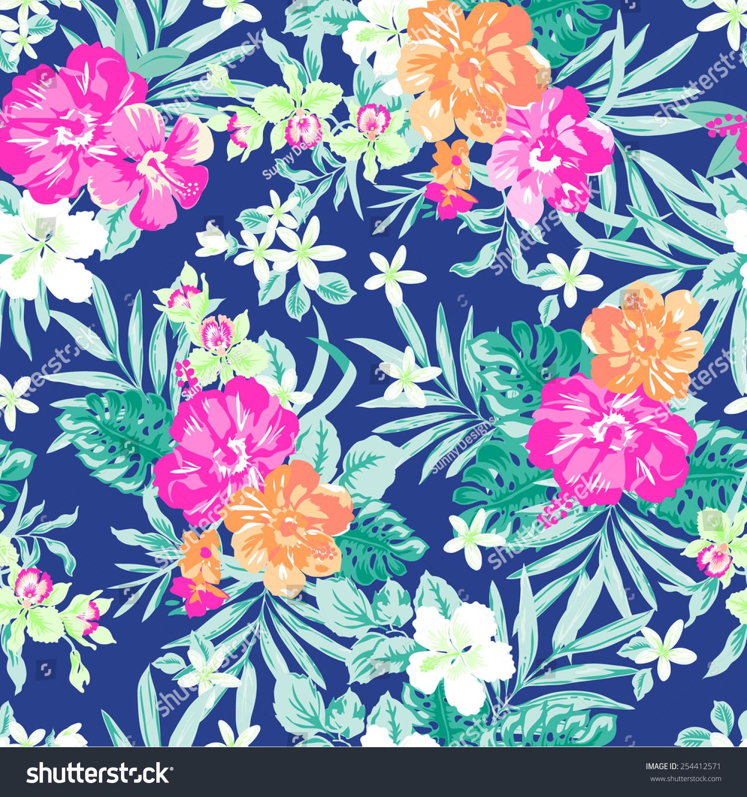hawaiian tropical floral print seamless background stock
