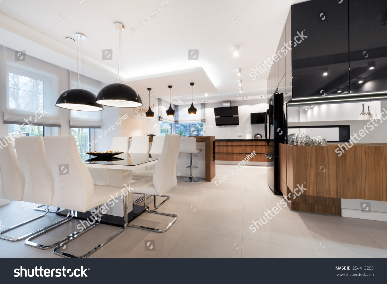 Modern Kitchen Interior Design Black White Stock Photo Edit Now 254413255