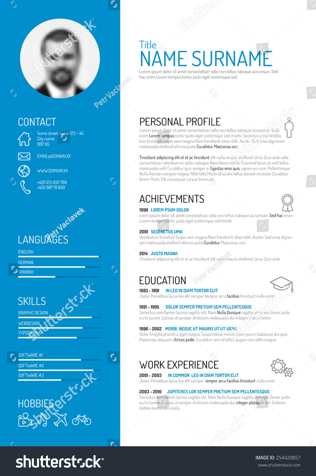 vector minimalist cv resume template stock vector 254420857