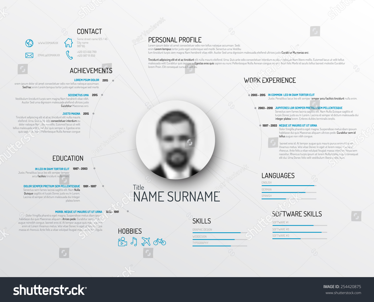 vector original minimalist cv resume template stock vector 254420875