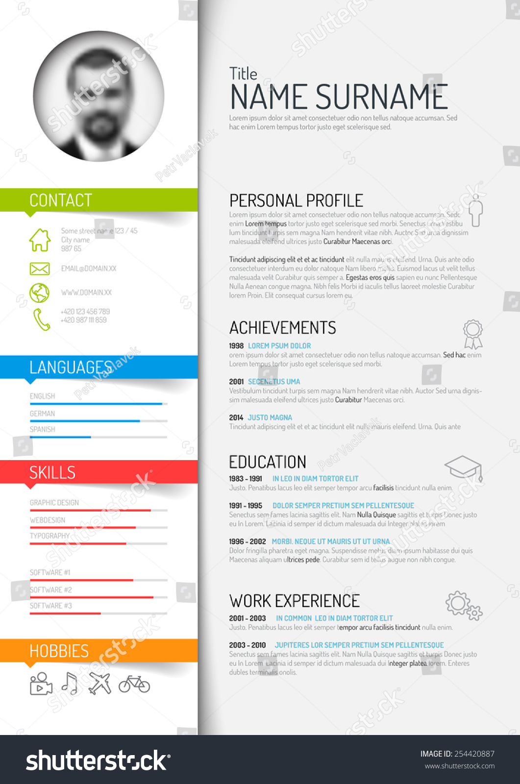 vector minimalist cv resume template light stock vector