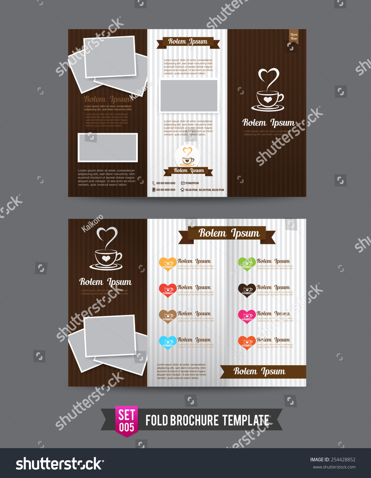 Coffee Shop Red Shop Concept Fold Brochure Template Light Vector  Illustration
