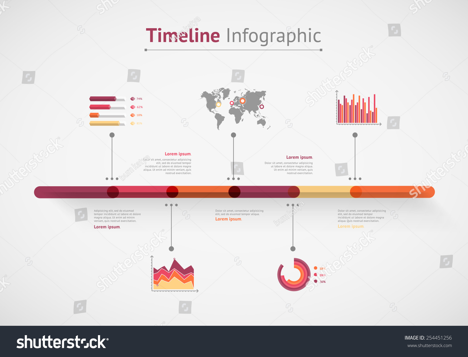 Timeline vector infographic world map vector de stock254451256 timeline vector infographic world map gumiabroncs Images