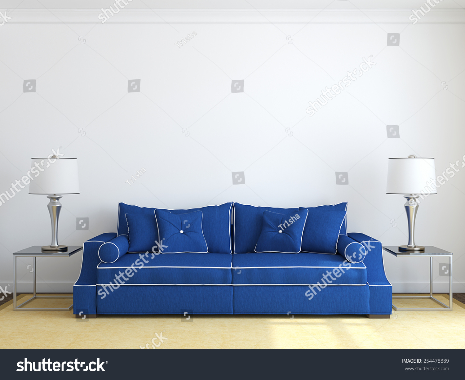 Modern Livingroom Interior Blue Couch Near Stock Illustration ...