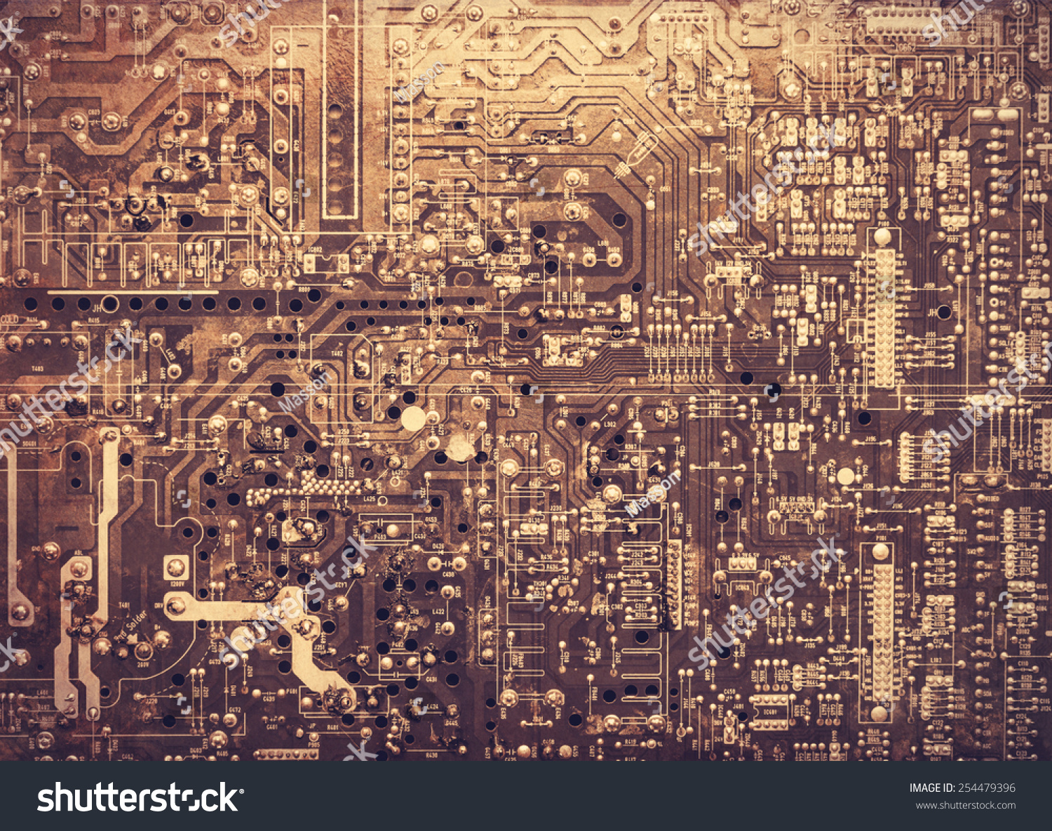 Old Printed Circuit Board Photo Stock Edit Now 254479396 Microchips In Color Image Style