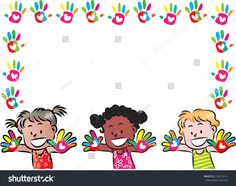 kids hand print border frame stock vector 254515414 shutterstock