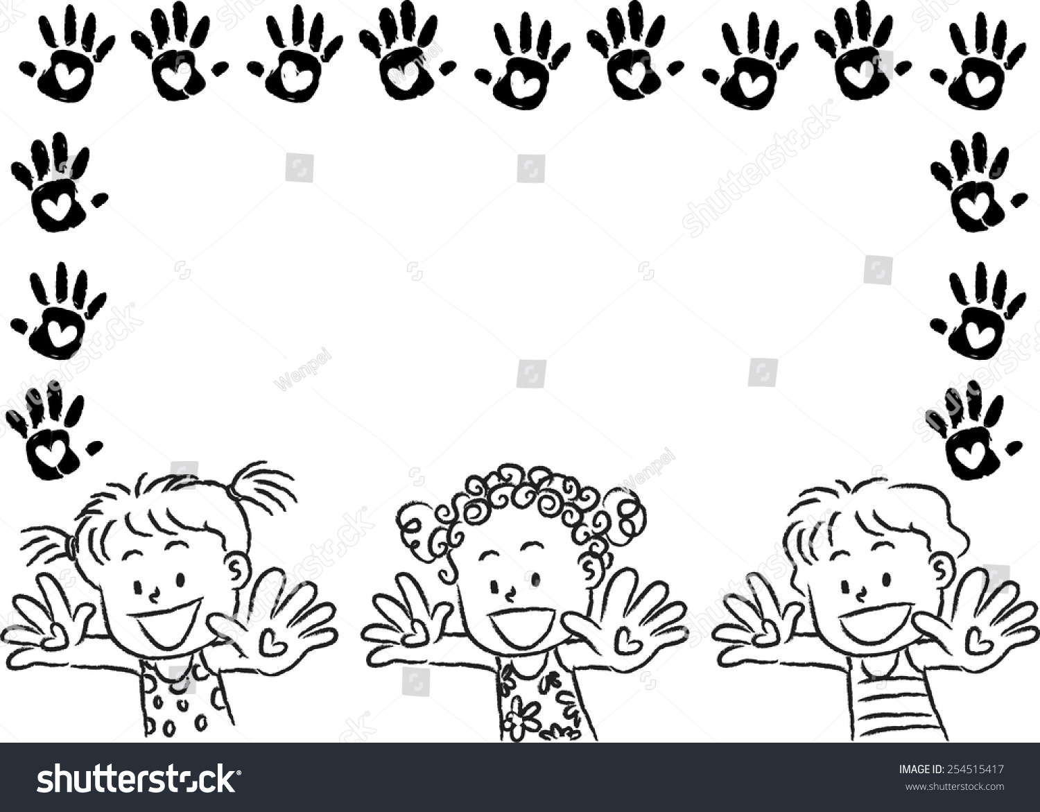 kids with hand print border frame stock vector 254515417