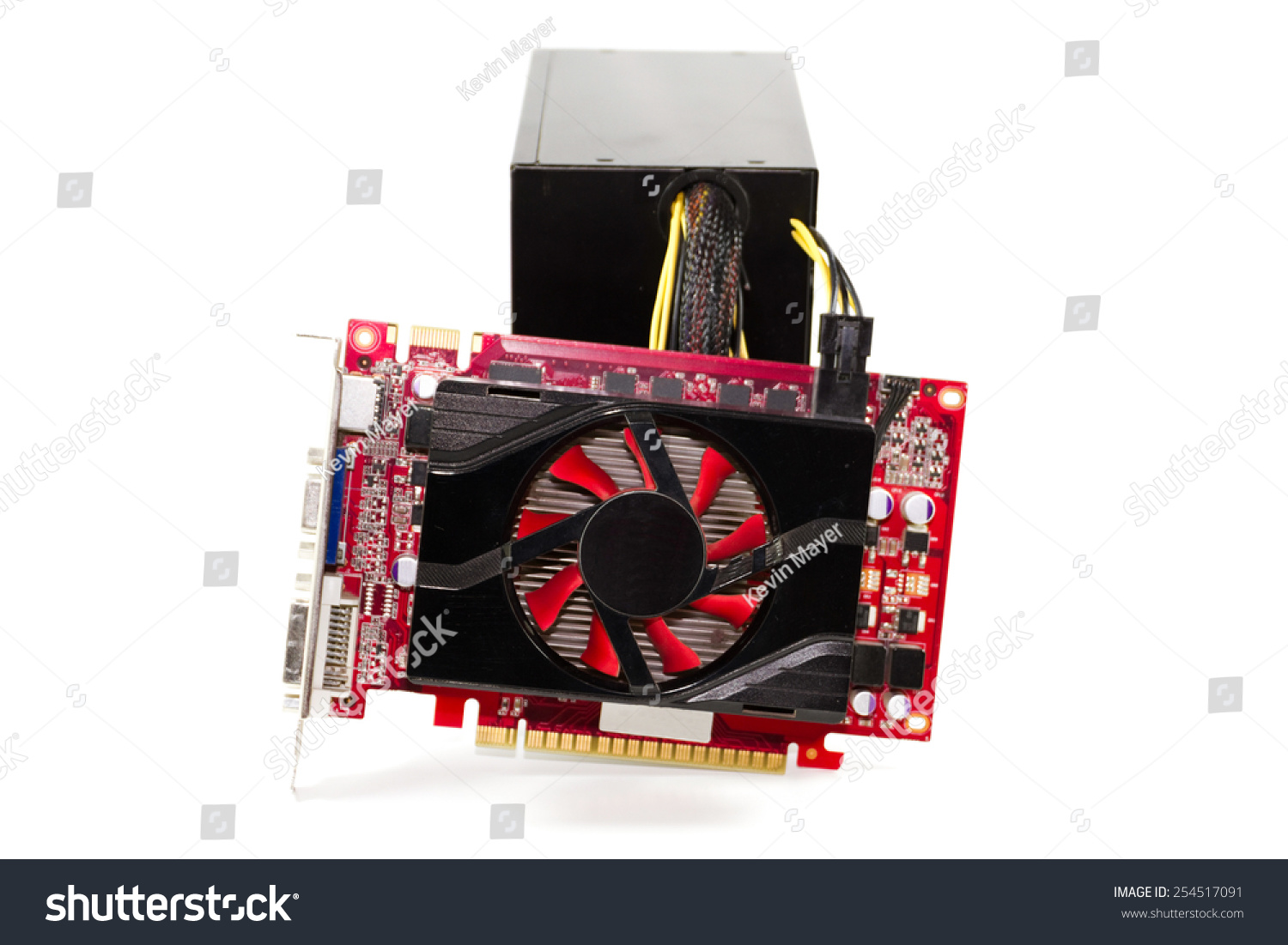 Red Graphic Card Broken Power Supply Stock Photo (Edit Now