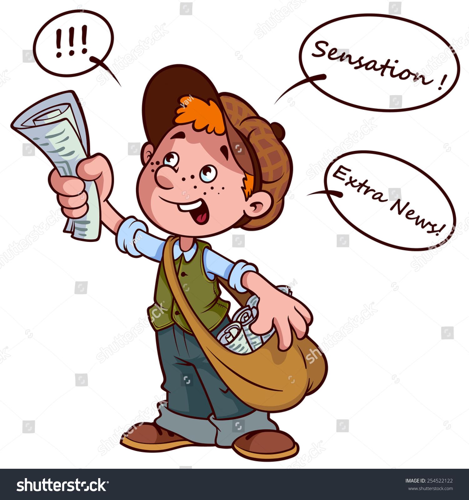 cartoon paper boy yelling sensational news stock vector (royalty