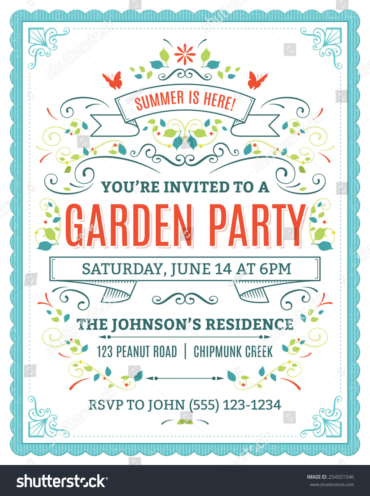 Vector Garden Party Invitation Ornaments Ribbons Stock Vector