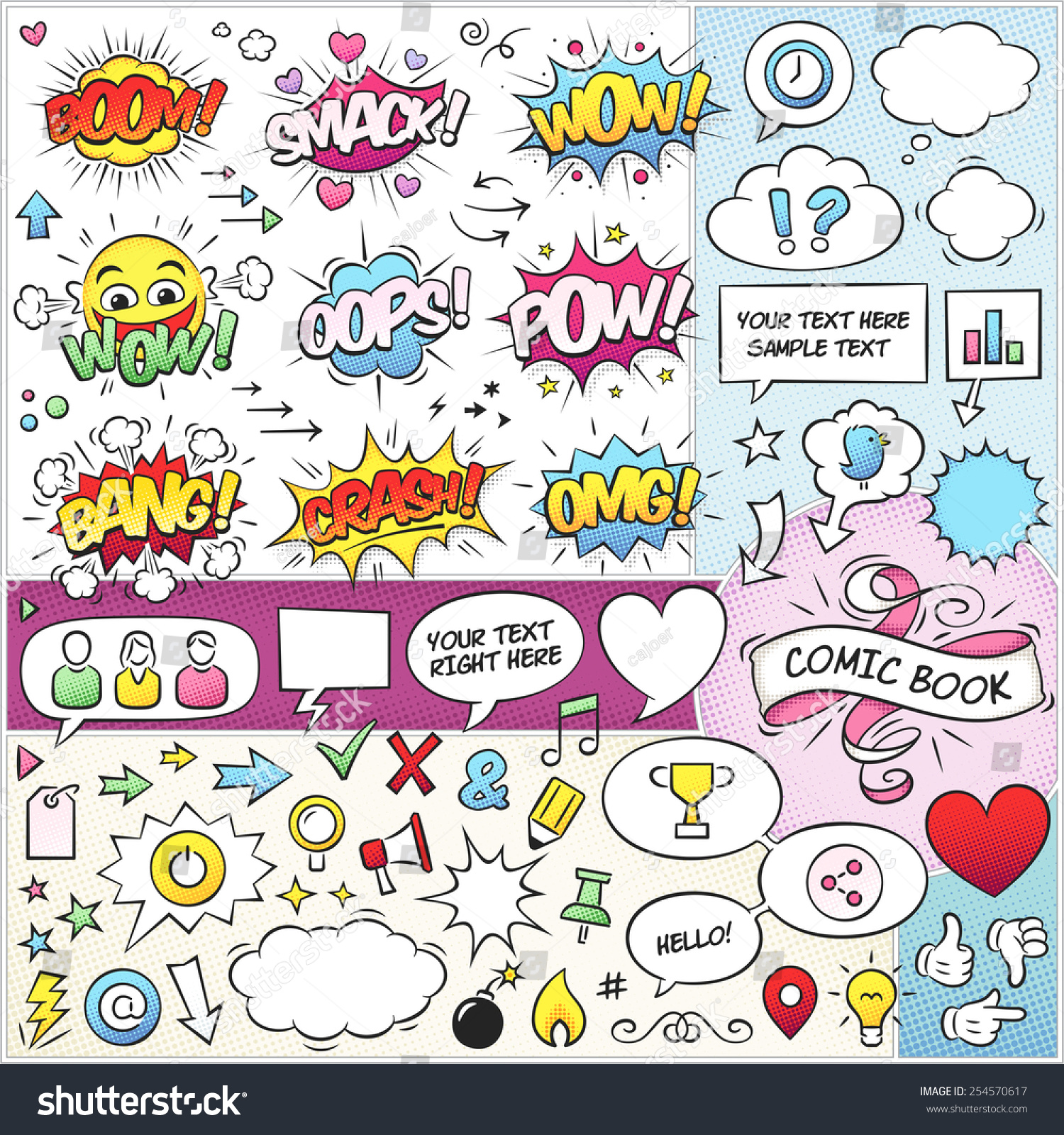Large Collection Comic Book Vector Elements Stock Vector