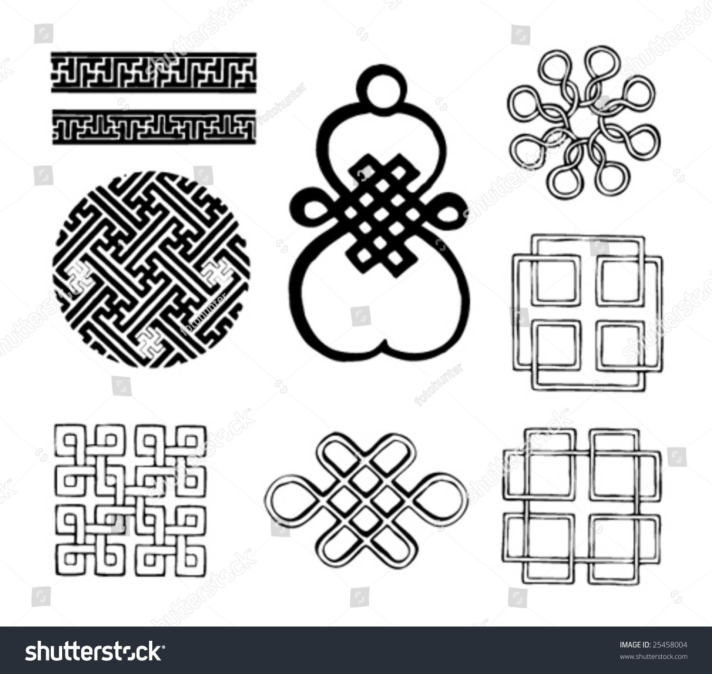 Chinese Auspicious Symbols Stock Vector 2018 25458004 Shutterstock