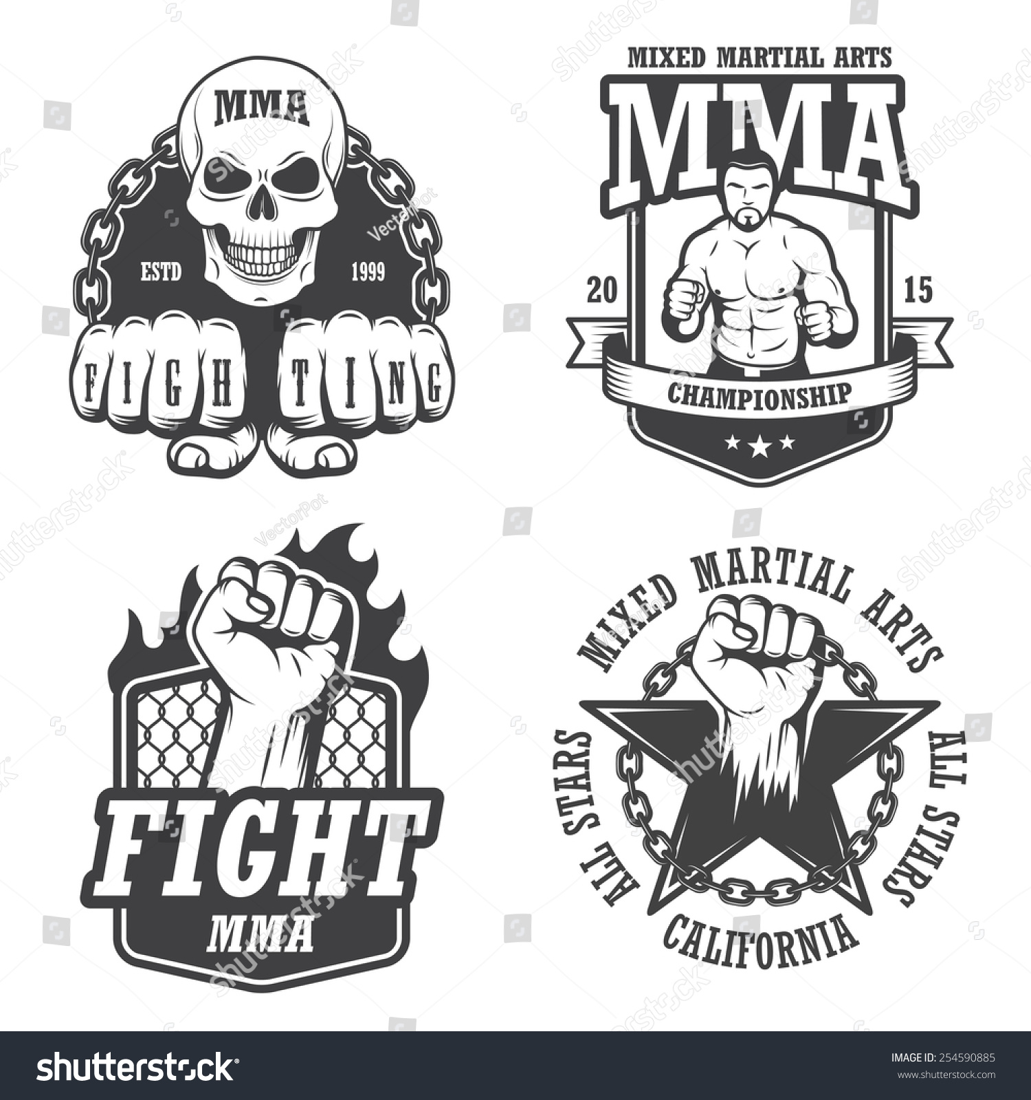 set four mma emblems labels badge stock vector 254590885