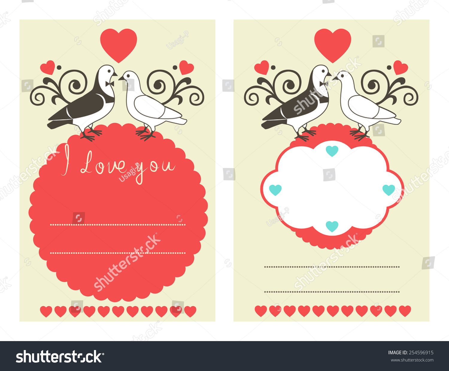 Wedding Card Greeting Card Vector Invitation Stock Vector 254596915 ...