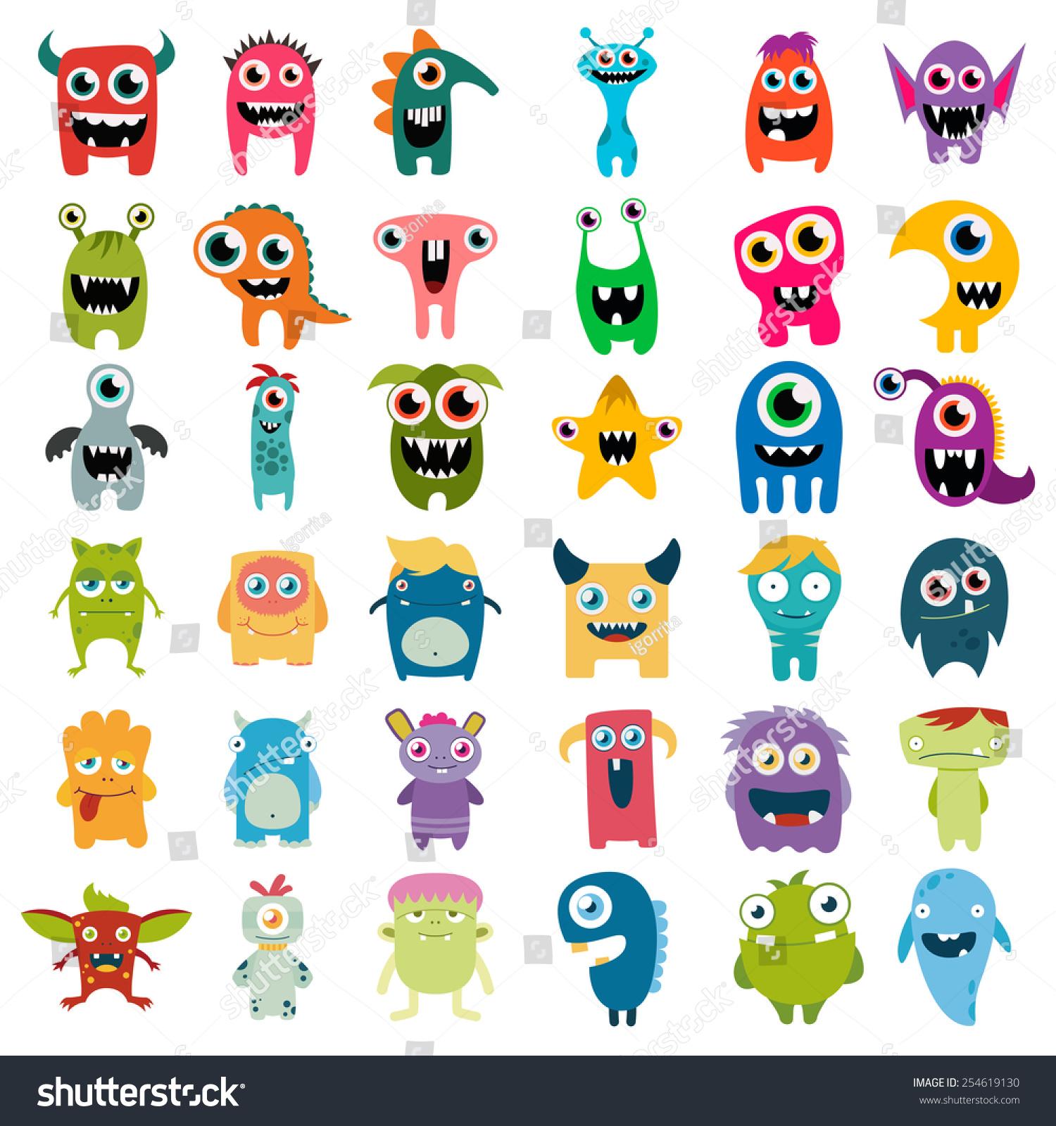 Wall Stickers Dinosaurs Big Vector Set Cartoon Cute Monsters Stock Vector
