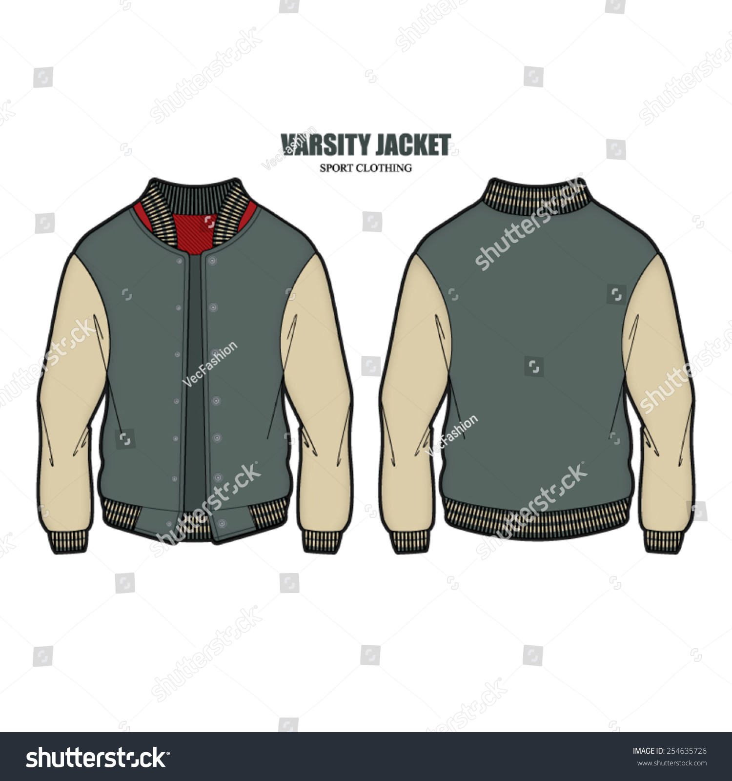 Men Varsity Jacket Vector Template Stock Vector 254635726 ...