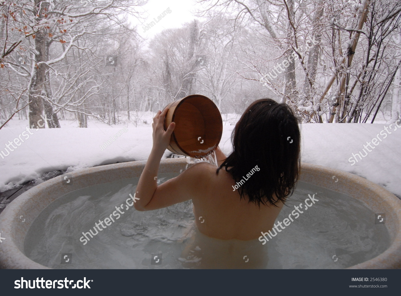 a young Korean woman in a hot open air onsen bath in the snowfield. Young Korean Woman Hot Open Air Stock Photo 2546380   Shutterstock