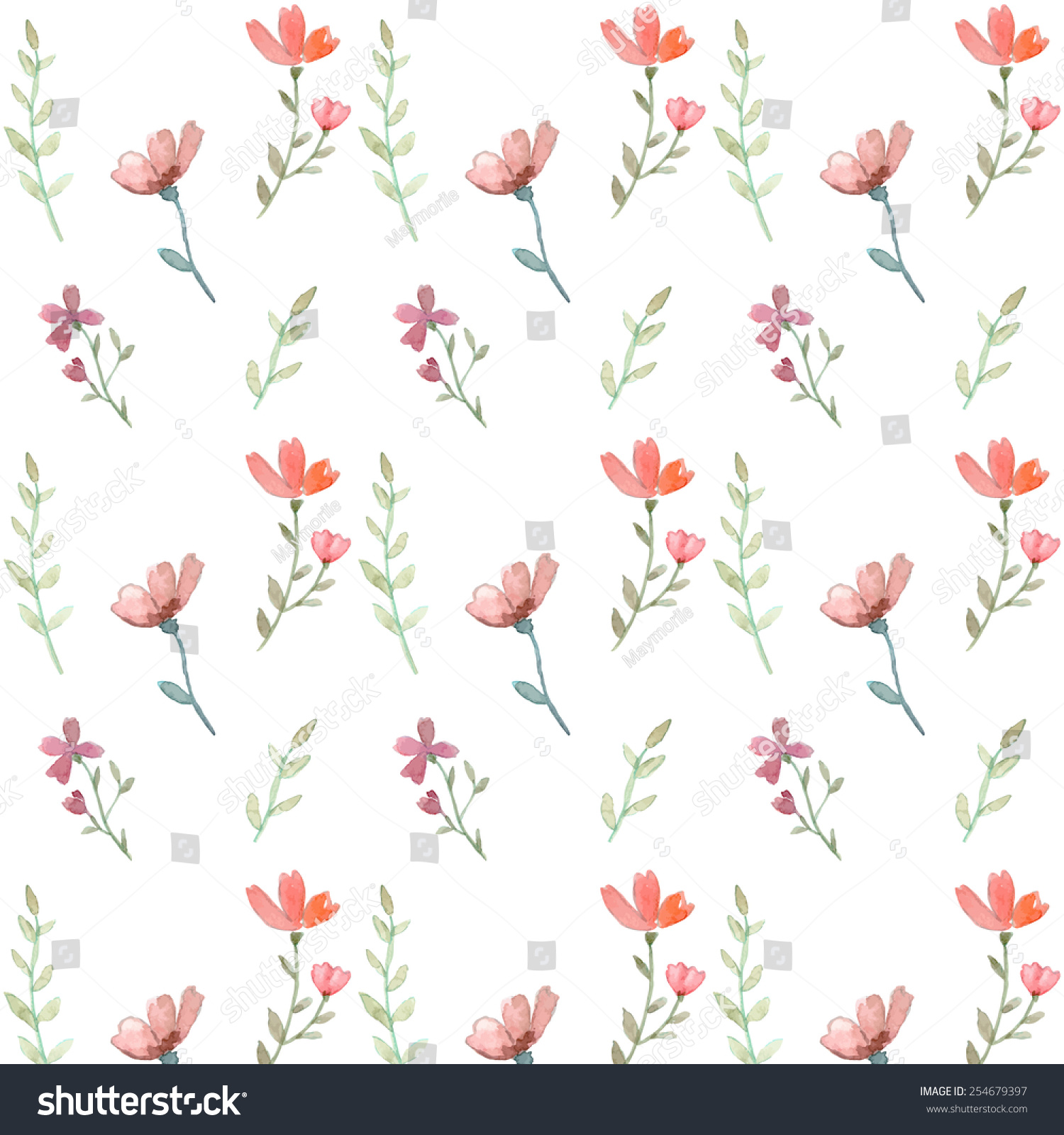 Seamless Flowers And Leaves Wallpaper Pattern Vector On Plain Background
