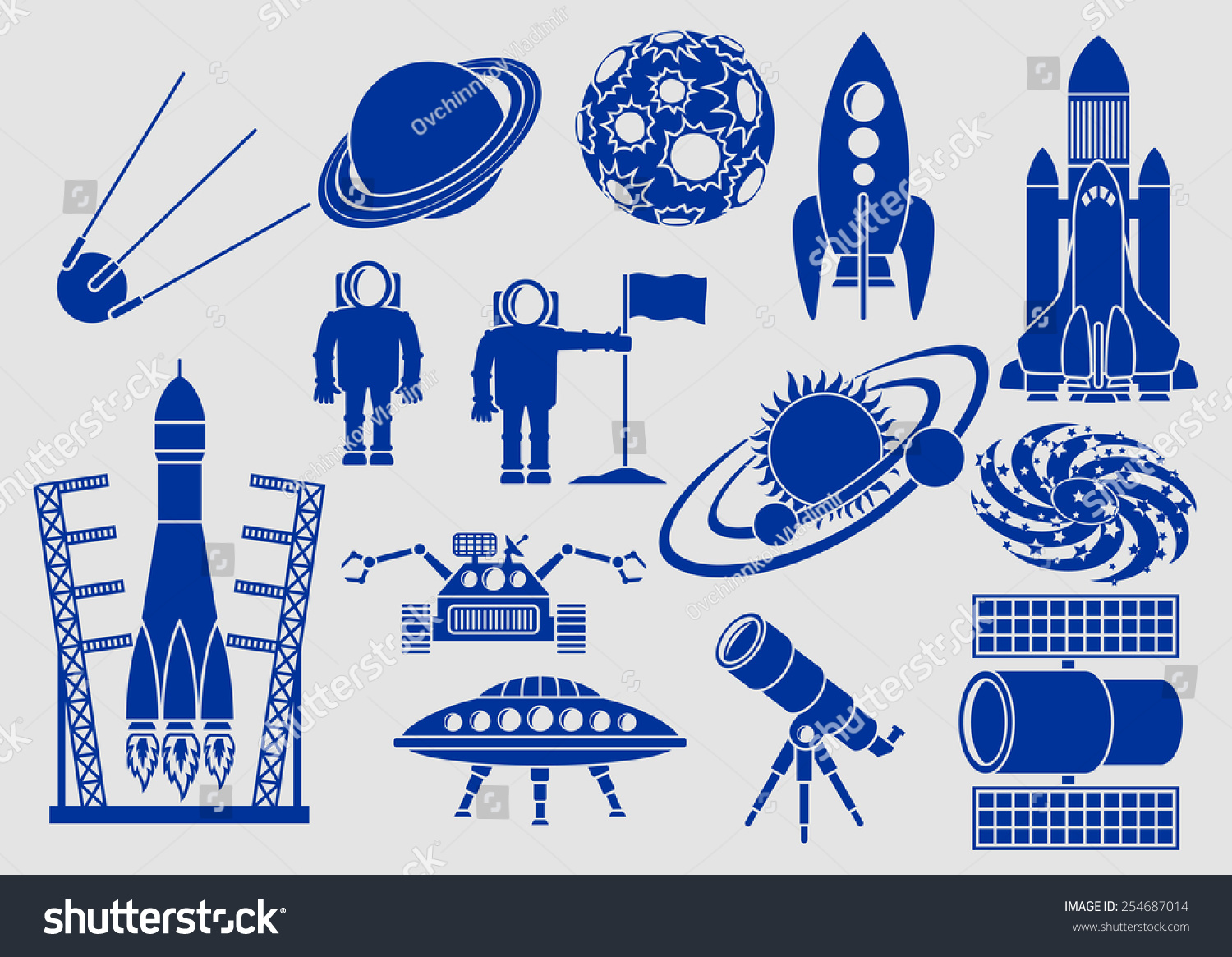 set icons space ships planets rockets stock vector 254687014
