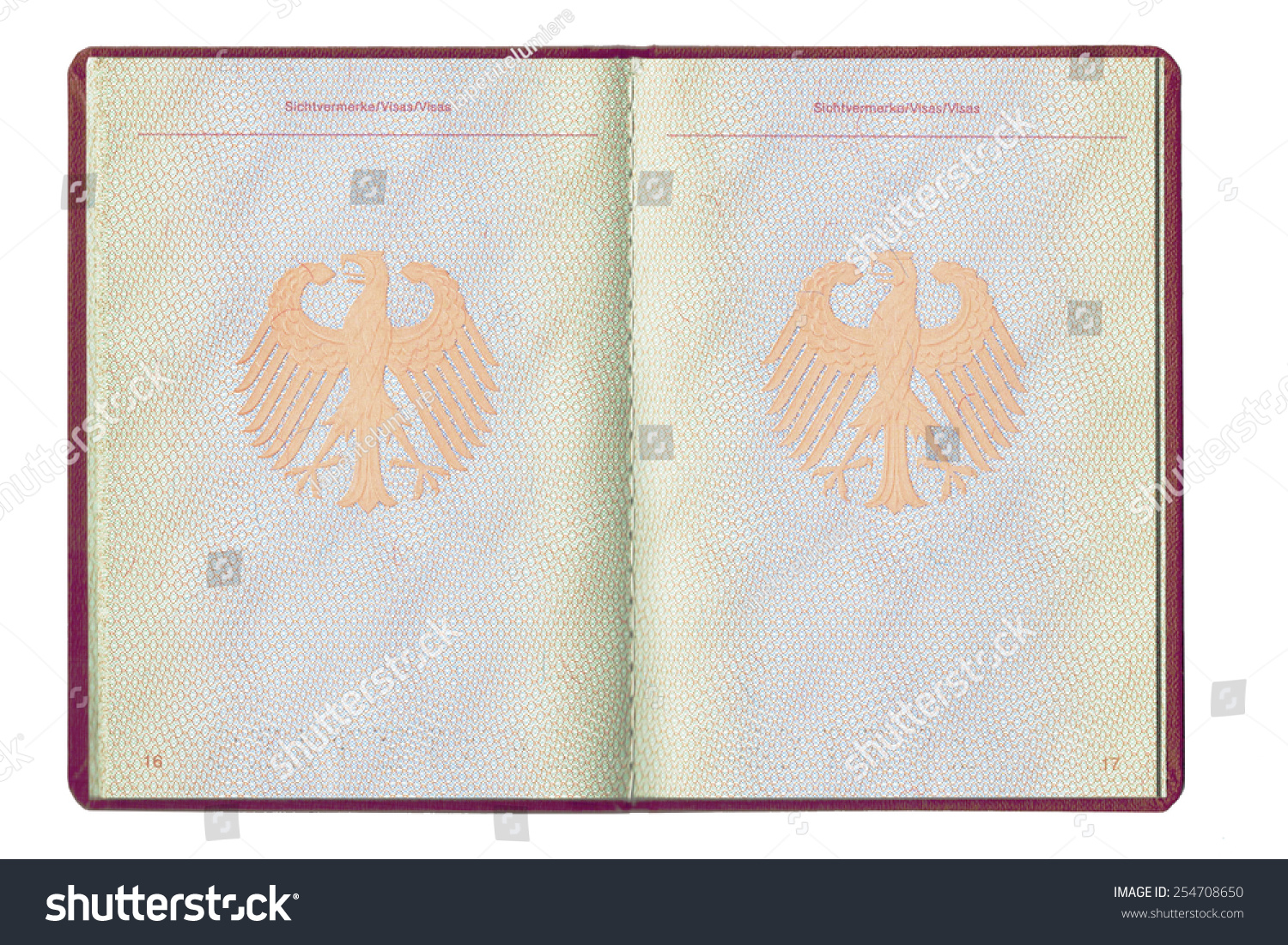 An Empty Inside Page Of A German Passport, Full Open, Blank For Visa,