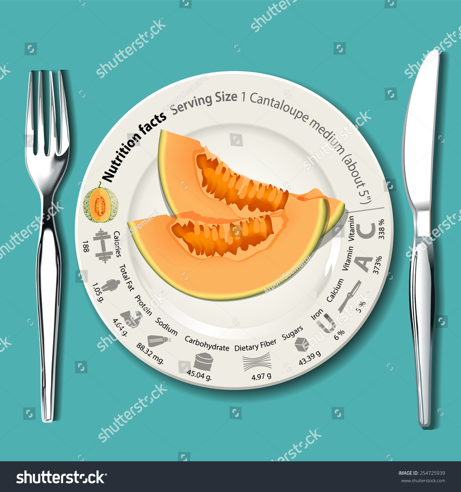 Vector Info Graphic Nutrition Facts Cantaloupe Stock Vector Royalty Free 254725939 Eating cantaloupe may bring a number of health benefits. shutterstock