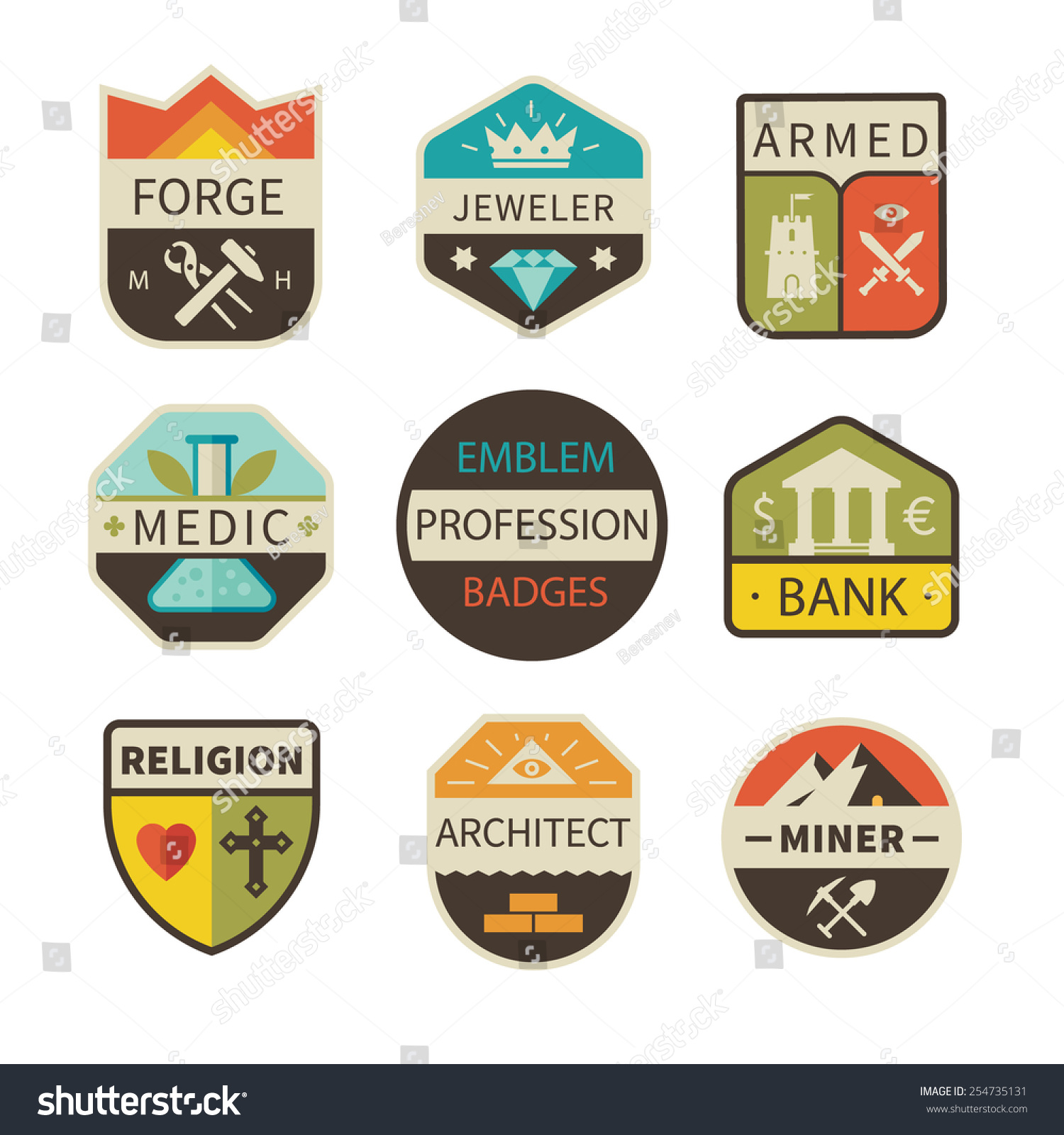 Professional Logos Badges Forge Jeweler Armed Stock Vector ...