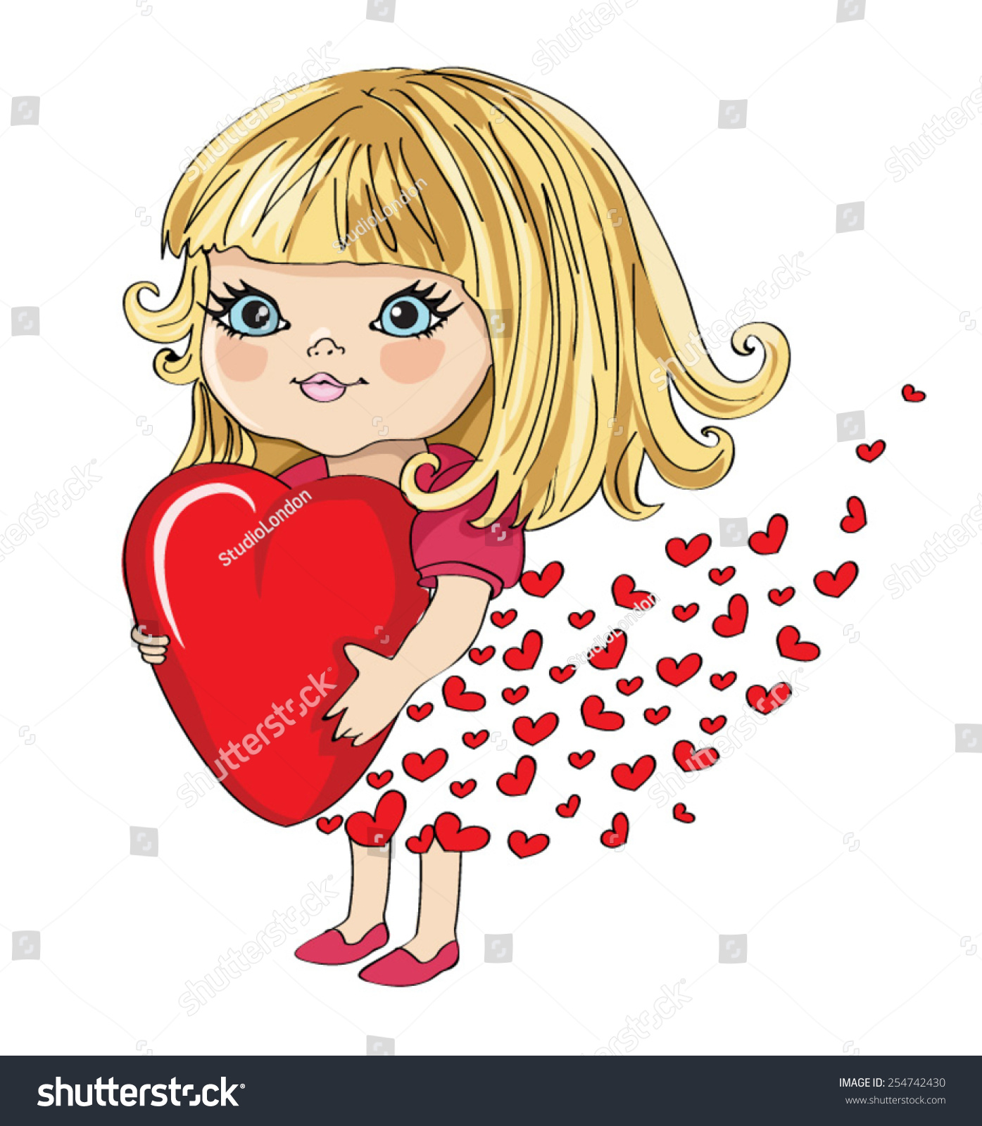Cute Girl Vector Design Valentines Day Special Stock Vector Royalty