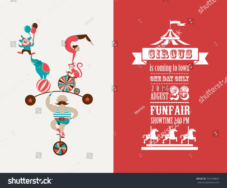 Vintage Poster Carnival Fun Fair Circus Stock Vector 254748847 ...